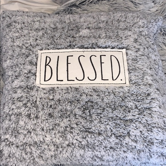 Rae Dunn Blessed Grey Sherpa Pillow